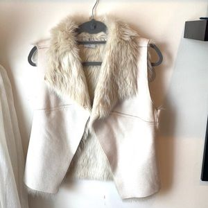 NWT Jennifer Lopez faux suede and fur vest XS